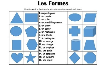 FRENCH - Picture Match - Les Formes (shapes)