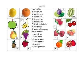 FRENCH - Picture Match - Les Fruits (fruit)
