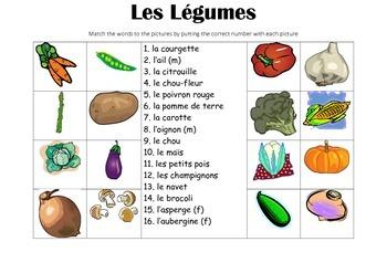FRENCH - Picture Match - Les Légumes (vegetables)