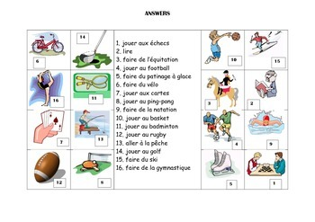 FRENCH - Picture Match - Les Loisirs (hobbies)
