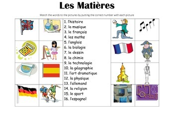 FRENCH - Picture Match - Les Matières (school subjects)