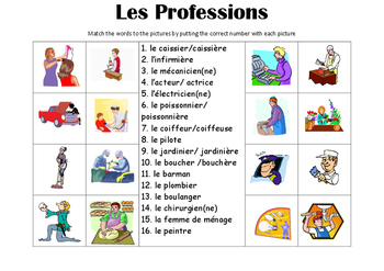 french picture match les professions jobs by. Black Bedroom Furniture Sets. Home Design Ideas