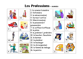 FRENCH - Picture Match - Les Professions (jobs)