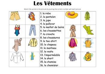 FRENCH - Picture Match - Les Vêtements (clothes)