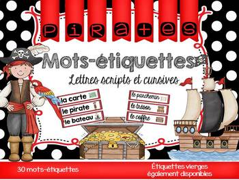 FRENCH Pirates Word Wall Cards /Pirates - Mots-étiquettes