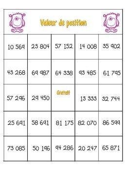 Bingo : Valeur de position jusqu'aux dizaines de mille