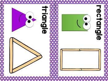 FRENCH Popsicle Stick Shape Mats/ Formes géométriques avec bâtonnets
