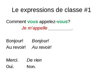 FRENCH PowerPoint - Expressions de Classe #1