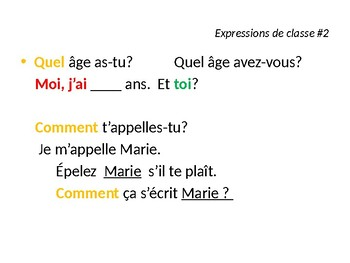 FRENCH PowerPoint - Expressions de Classe #2