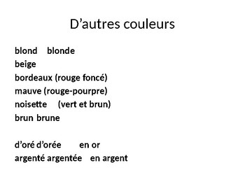 FRENCH PowerPoint - Les Couleurs