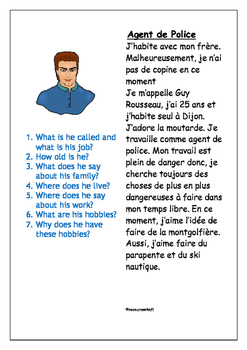 FRENCH - READING PRACTICE - L' Agent de Police