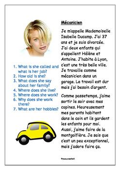 FRENCH - READING PRACTICE - Le Mécanicien