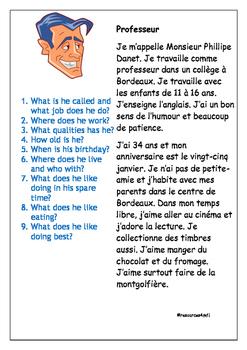 FRENCH - READING PRACTICE - Le Professeur