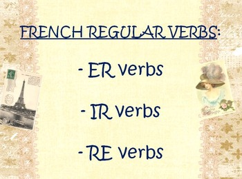 FRENCH REGULAR VERBS: PP Lesson on conjugations of ER, -IR & -RE Verbs