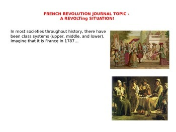 FRENCH REVOLUTION JOURNAL TOPIC - A REVOLTing SITUATION!