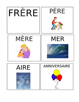 FRENCH RHYMING SOUNDS FLASHCARDS