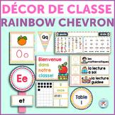 French classroom decor set RAINBOW CHEVRON Bundle