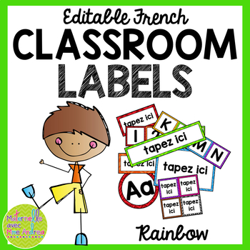 FRENCH Rainbow Editable Classroom labels