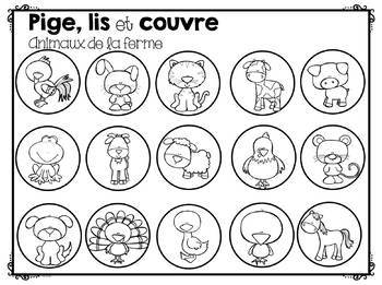 FRENCH Read and Cover - Animals / Pige, lis et couvre - Animaux (Jeu de lecture)