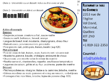 FRENCH: Reading to Writing Task: Restaurant