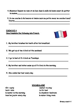 FRENCH -  Reflexive Verbs - Daily Routine