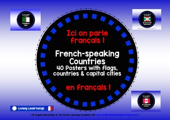 FRENCH-SPEAKING COUNTRIES - 40 DISPLAY POSTERS WITH CAPITA