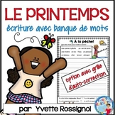 FRENCH SPRING WRITING PROMPTS with word bank ÉCRITURE DU PRINTEMPS