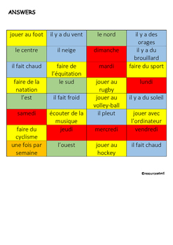 FRENCH - STARTER - COLOUR MATCH (leisure activities/ weather/ compass/days