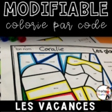 FRENCH SUMMER WORKSHEETS COLOR BY CODE - MODIFIABLE
