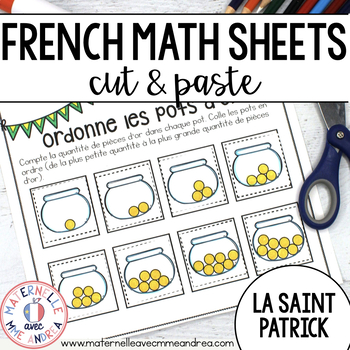 French Saint Patricks Day No Prep Math Worksheets Cut Paste