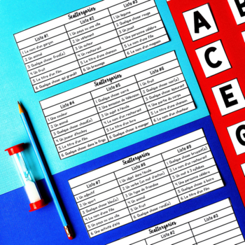 FRENCH Scattergories Game