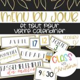 FRENCH Schedule Cards and Calendar / Menu du jour et calen