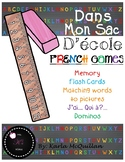 FRENCH School Supplies Games and Activities : Dans mon sac d'école - les jeux