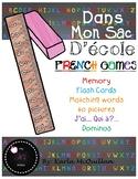 FRENCH School Supplies Games and Activities : Dans mon sac d'école - les jeux