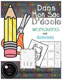 FRENCH School Supplies Worksheets and Activities: Dans mon sac d'école activités