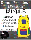 FRENCH School Supplies activities BUNDLE : Mon sac d'école