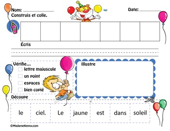 FRENCH Sentence Builder Prepositions and Colors-Construire des phrases