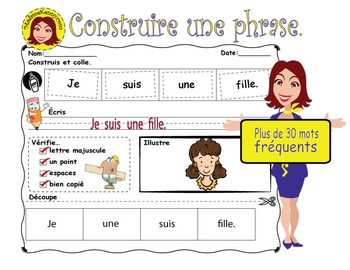 FRENCH Sentence Builder Worksheets - Construire des phrases en Français