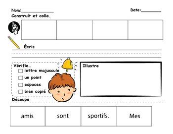 FRENCH Sentence Builder Worksheets-Construire des phrases en Français VOL #2