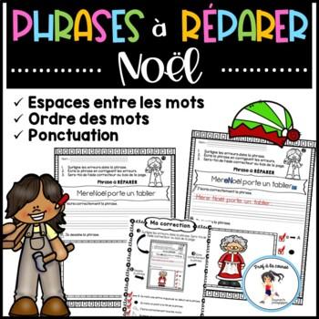 FRENCH Sentence Repair-Christmas/Phrases à réparer- NOËL