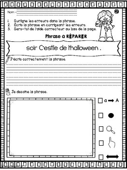 FRENCH Sentence Repair-HALLOWEEN/Phrases à réparer- HALLOWEEN