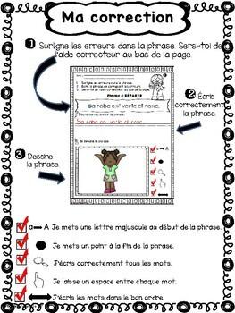 FRENCH Sentence Repair/Phrases à réparer- VÊTEMENTS