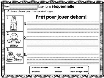 FRENCH Sequencing Read & Write - Winter / Histoires séquentielles - HIVER