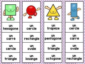 FRENCH 2D Shape Geometry Clip Cards / Épingle les formes géométriques