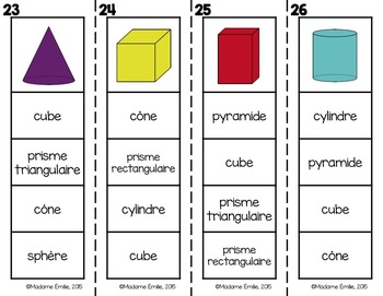 FRENCH {Shapes Clip cards}/ Cartes à clip {Formes et solides}