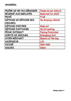 FRENCH - WORKSHEET - Signs and Notices