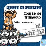 FRENCH Sled Race math center/ Atelier de numératie Courses de chiens de traineau