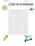 FRENCH - Spring C'est le printemps! wordsearch and key