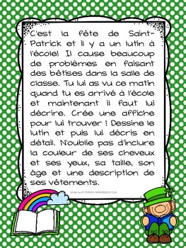 FRENCH St. Patrick's Day Writing Prompt