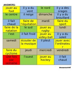 FRENCH - STARTER - Colour match activities, weather, compass points and days